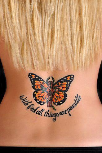 With God All Things Are Possible | www.drnicolemeastman.com #tattoo #back #faith #God #butterfly #monarch #strength
